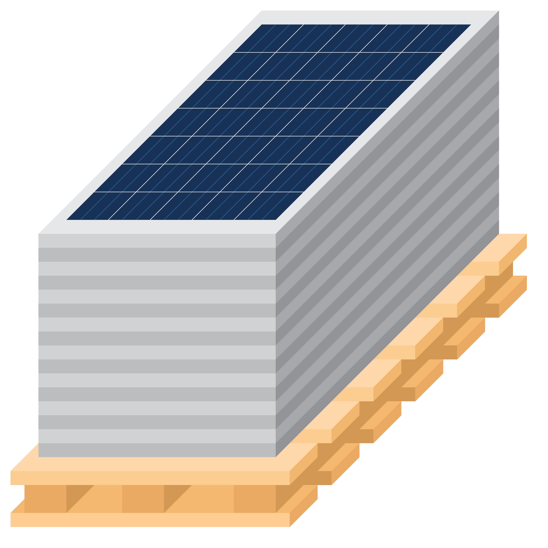 solar panels on pallet